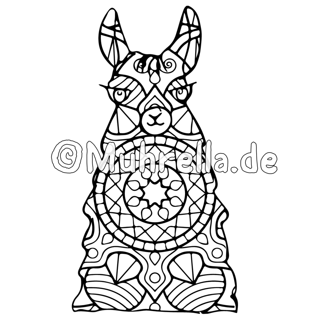 Cute Outline Doodle Jumping Llama With Hand Drawn Elements Stock ... | 1080x1080