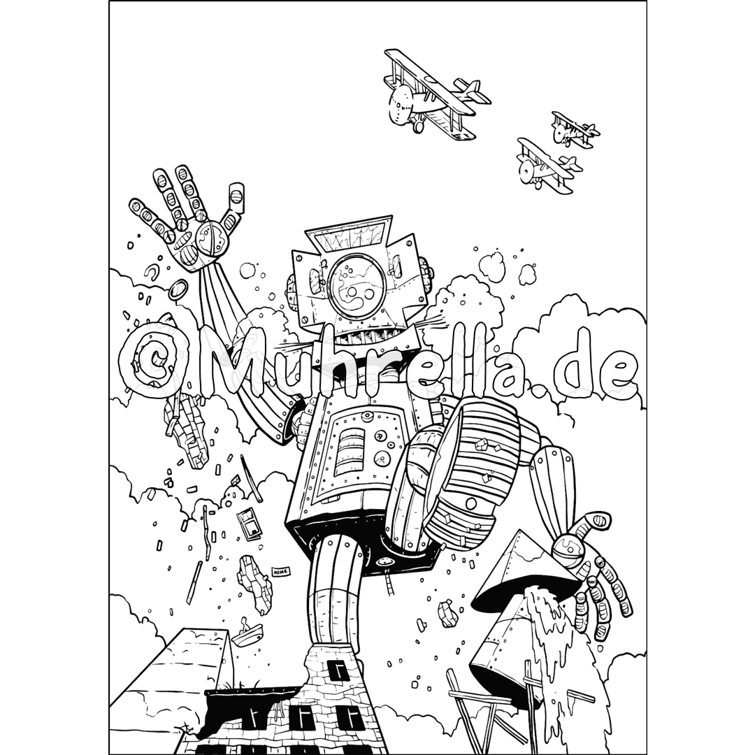 Robots And Outer Space Coloring Book